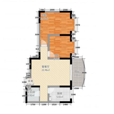国际花园2室1厅1卫1厨77.00㎡户型图