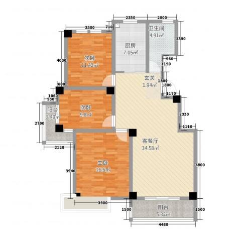渤海尚城3室1厅1卫1厨106.59㎡户型图