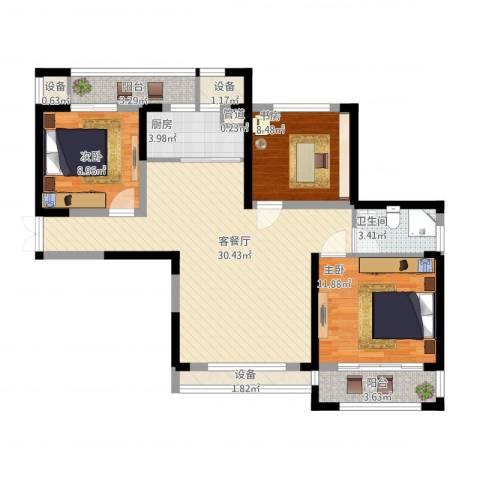 宝信润山3室1厅1卫1厨115.00㎡户型图