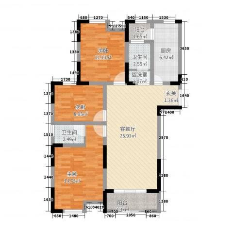 正通桂花苑3室2厅2卫1厨114.00㎡户型图