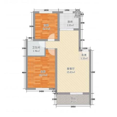 三江航天花园2室1厅1卫1厨85.00㎡户型图