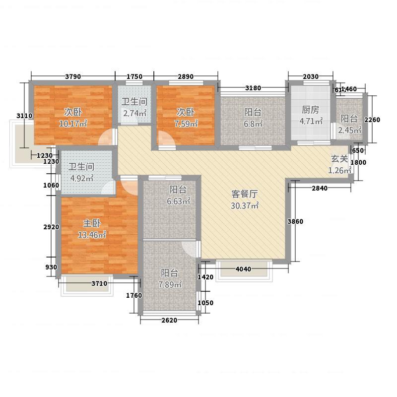 越海华府142.30㎡三居室双阳台户型3室2厅2卫1厨