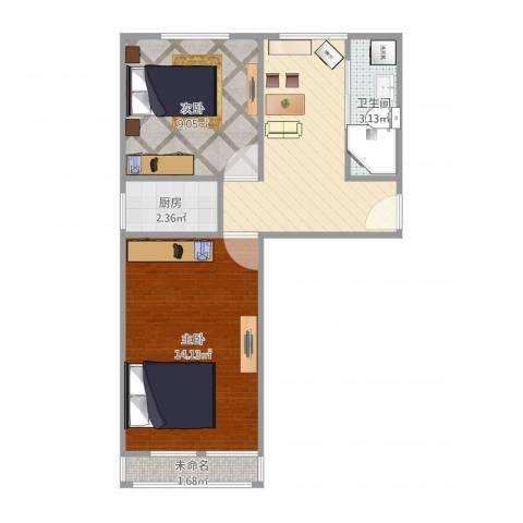 静安庄一区2室1厅1卫1厨56.00㎡户型图