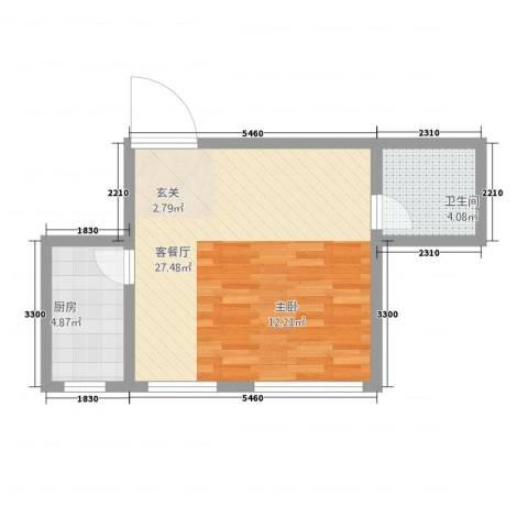 天成家园1厅1卫1厨53.00㎡户型图
