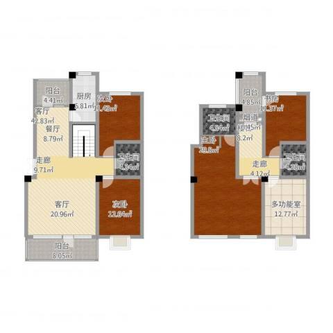 中国铁建梧桐苑4室1厅3卫1厨238.00㎡户型图