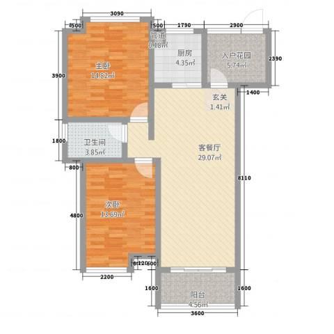 玉屏府2室1厅1卫1厨76.25㎡户型图