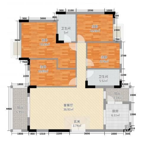 翠茵庭4室1厅2卫1厨157.00㎡户型图