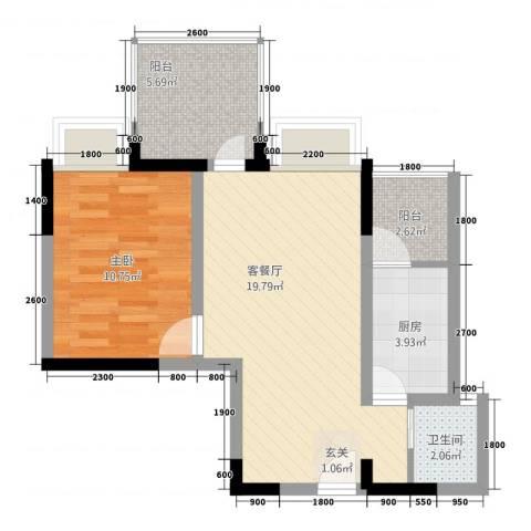 东湖尚�1室1厅1卫1厨2257.00㎡户型图