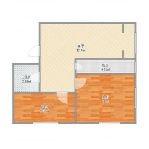 儒园公寓2室1厅1卫1厨75.00㎡户型图