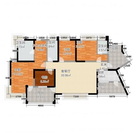 三江国际丽城4室1厅3卫1厨180.00㎡户型图