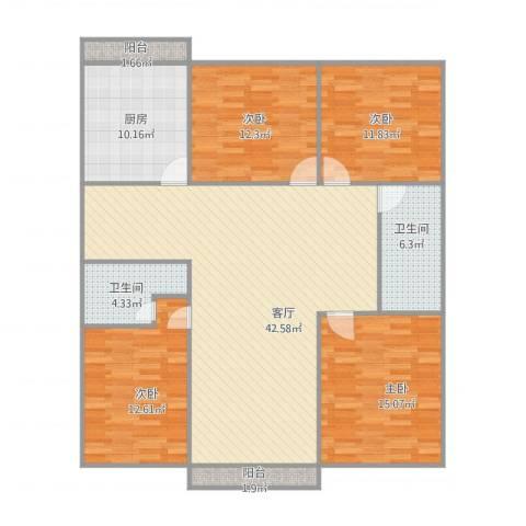 胜利小区4室1厅2卫1厨159.00㎡户型图
