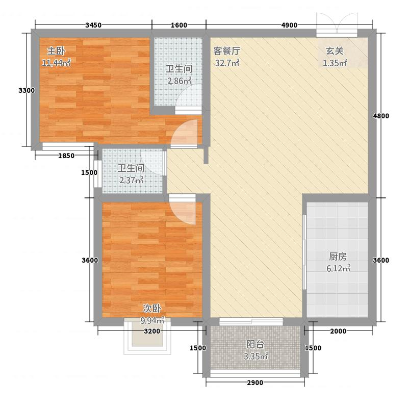 宜都红花套兆丰苑商住小区2.73㎡B-1户型2室2厅2卫1厨