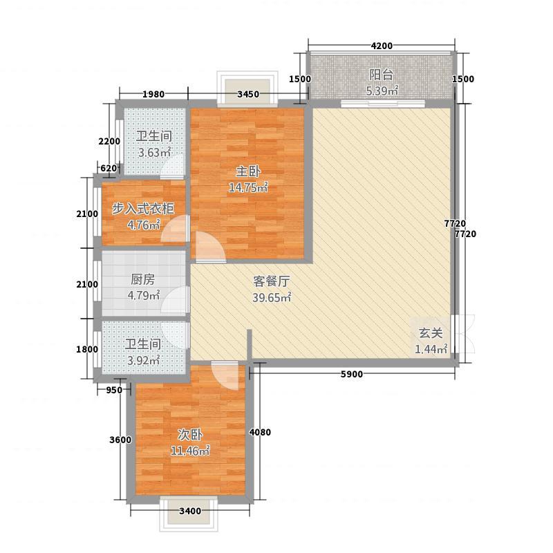 宜都红花套兆丰苑商住小区114.00㎡A-1户型2室2厅2卫1厨