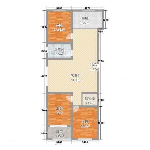 简单你3室1厅1卫1厨140.00㎡户型图