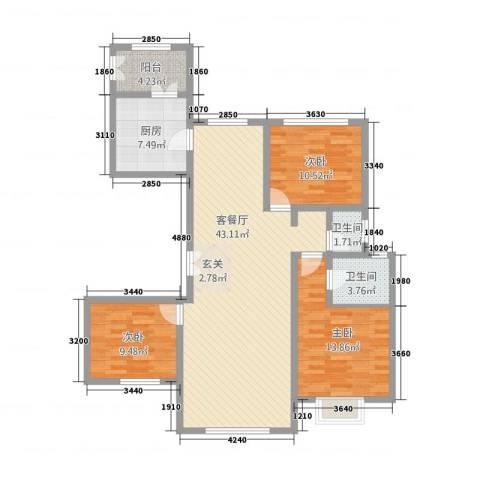 西荣阁3室1厅2卫1厨135.00㎡户型图