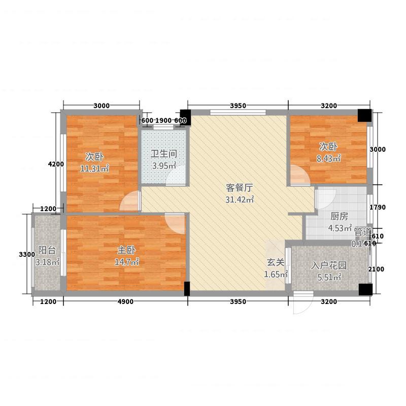 三江航天花园16.00㎡1#楼F户型3室2厅1卫1厨