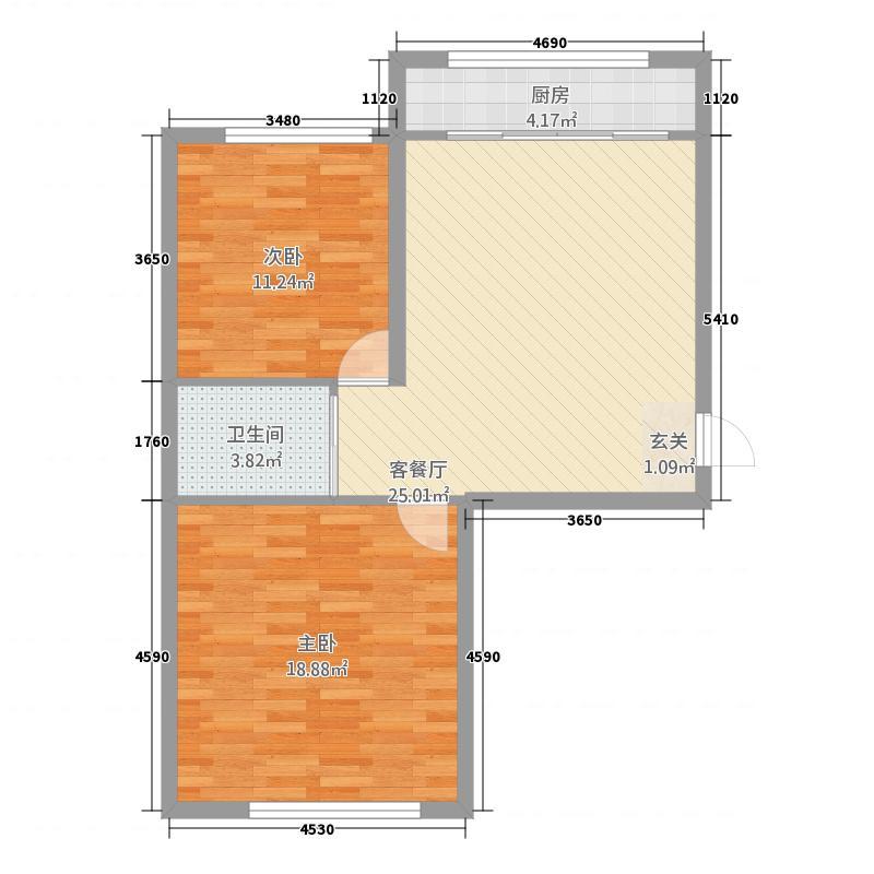 信合家园87.16㎡户型2室1厅1卫1厨