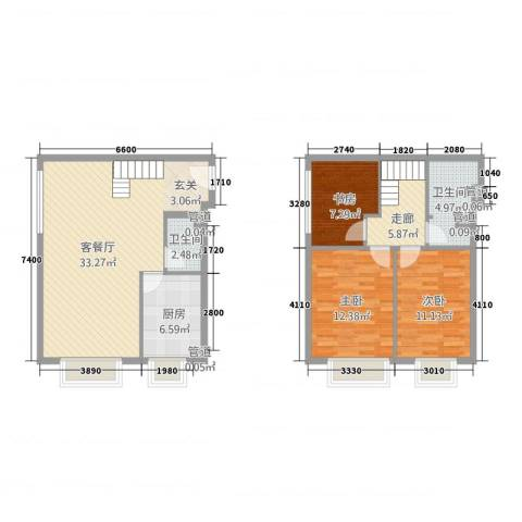星河1853室1厅2卫1厨118.00㎡户型图
