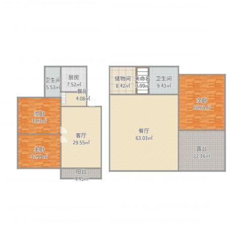 裕民家园3室3厅2卫1厨296.00㎡户型图