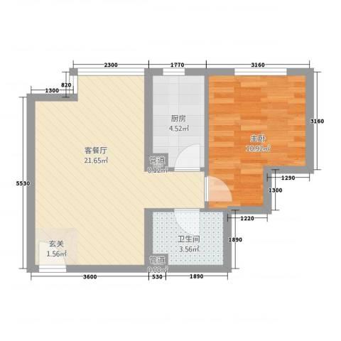 星河1851室1厅1卫1厨40.84㎡户型图
