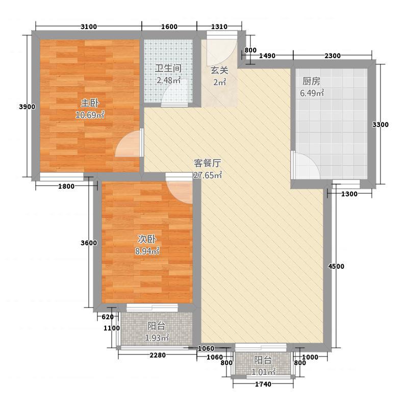 秀水花园87.50㎡B12号楼户型2室2厅1卫1厨