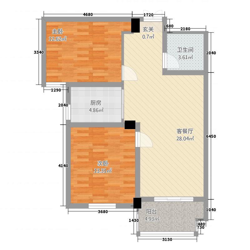 御园福邸6.10㎡B2户型2室2厅1卫1厨