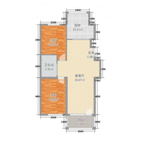 彩虹城2室1厅1卫1厨83.16㎡户型图
