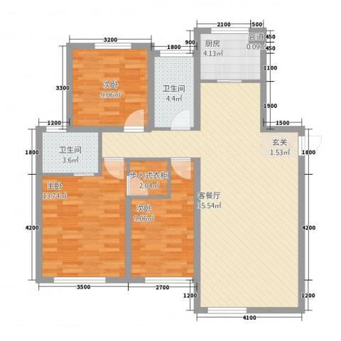 东地华庭3室1厅2卫1厨122.00㎡户型图