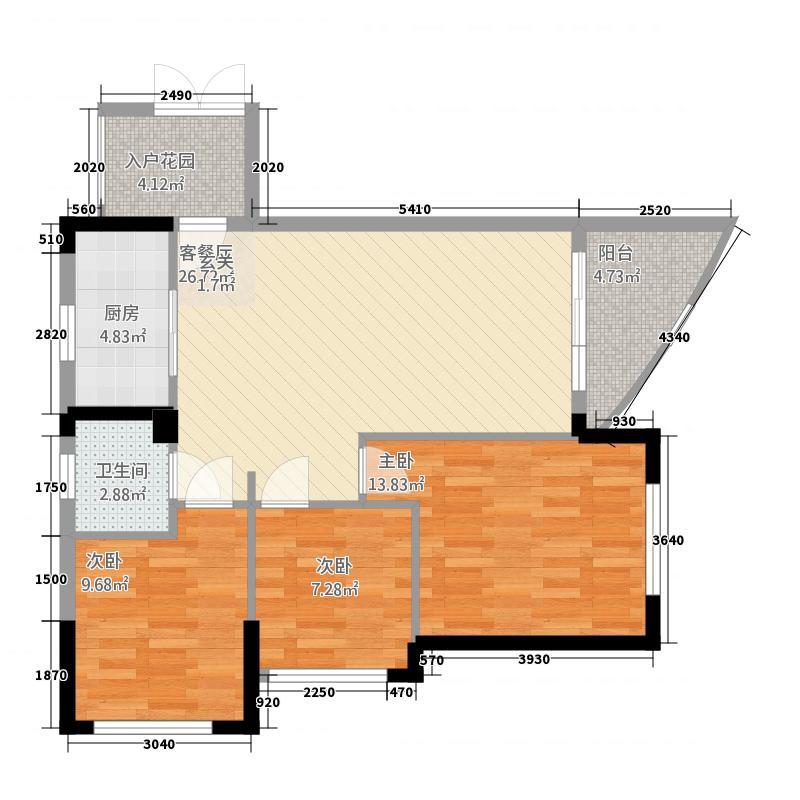 海景・摩尔城4.10㎡F1户型3室2厅1卫1厨