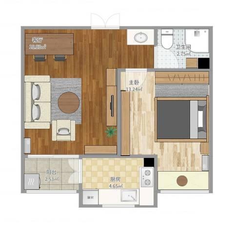 万锦海岸1室1厅1卫1厨57.00㎡户型图