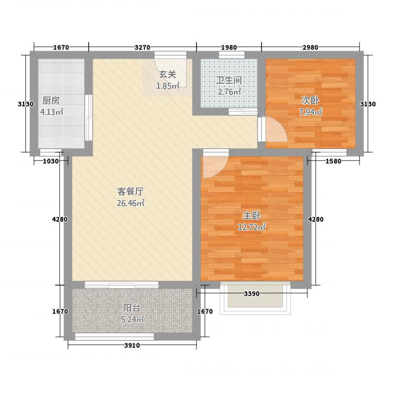 中万国际广场86.00㎡C户型2室2厅1卫1厨
