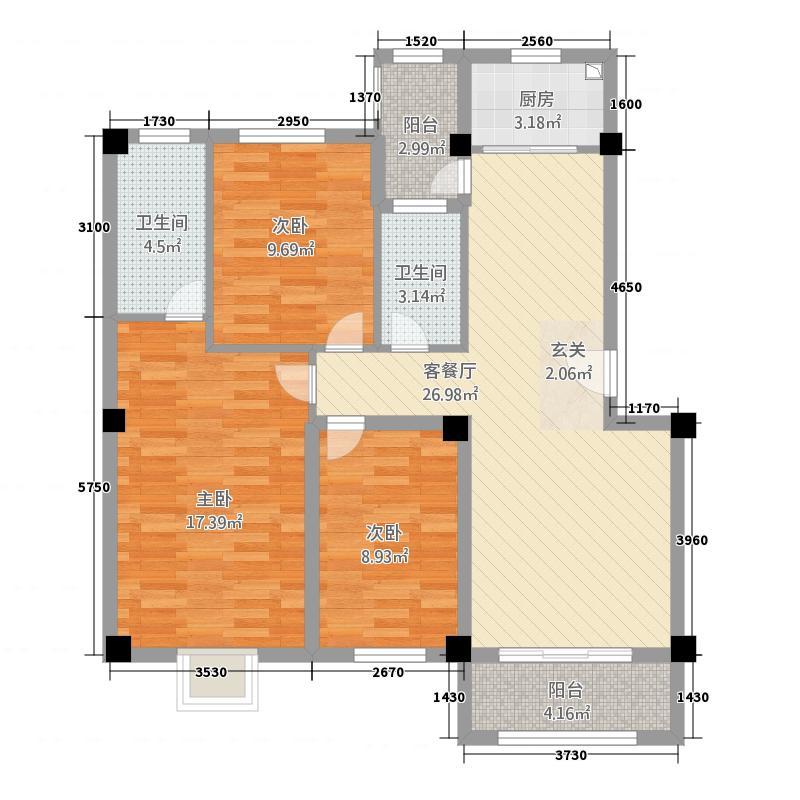 裕嘉大景城86.42㎡B组团8#-9#楼B2户型3室2厅2卫1厨