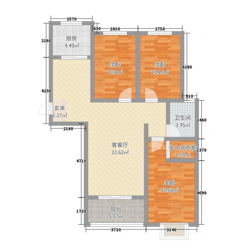 丽景馨居117.00㎡户型3室2厅1卫1厨