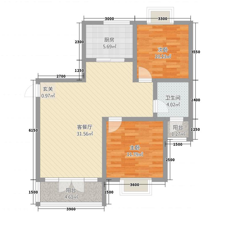经纬城市绿洲二期户型2室