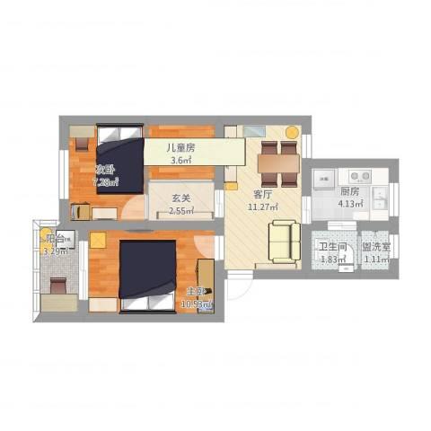 宁海里3室2厅1卫1厨71.00㎡户型图
