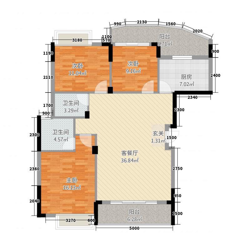 经典时代公馆123.54㎡一期A3户型3室2厅2卫1厨