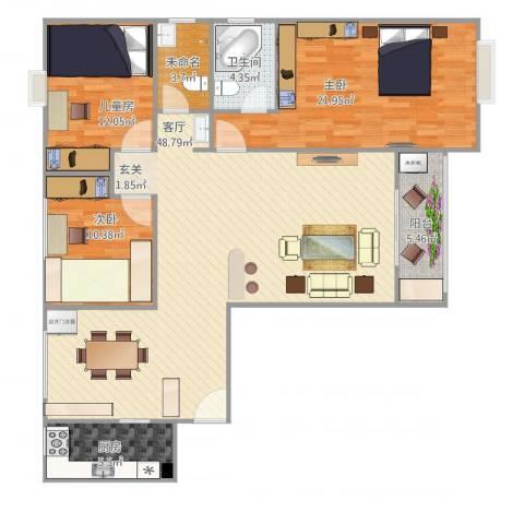 康泰小区3室1厅1卫1厨150.00㎡户型图