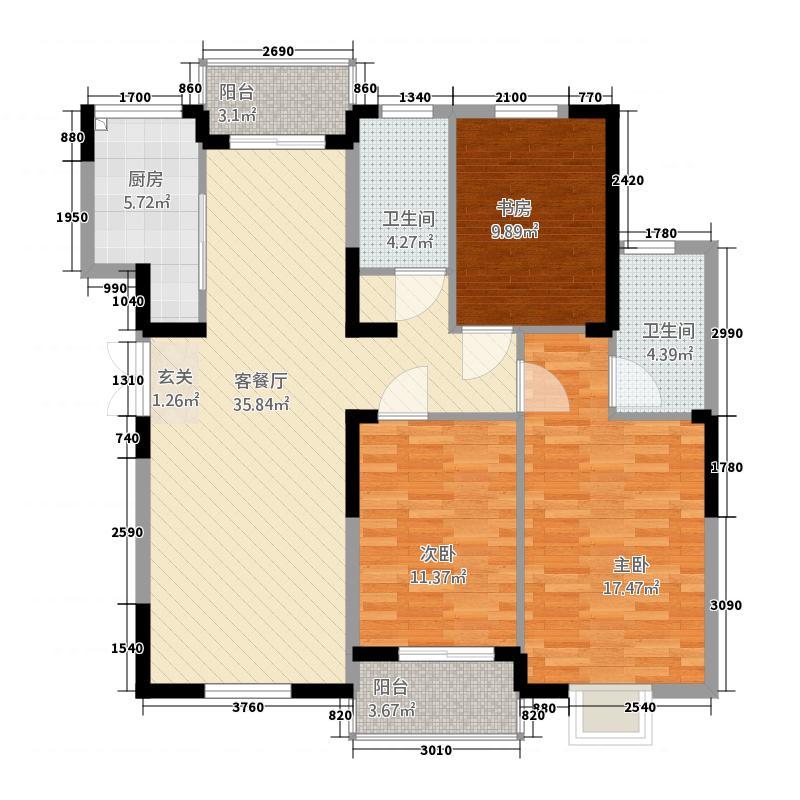 中置华府135.40㎡2户型3室2厅2卫1厨