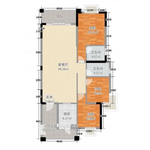 星湖观澜3室1厅2卫1厨107.85㎡户型图