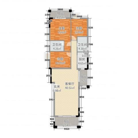 星湖观澜3室1厅2卫1厨145.00㎡户型图