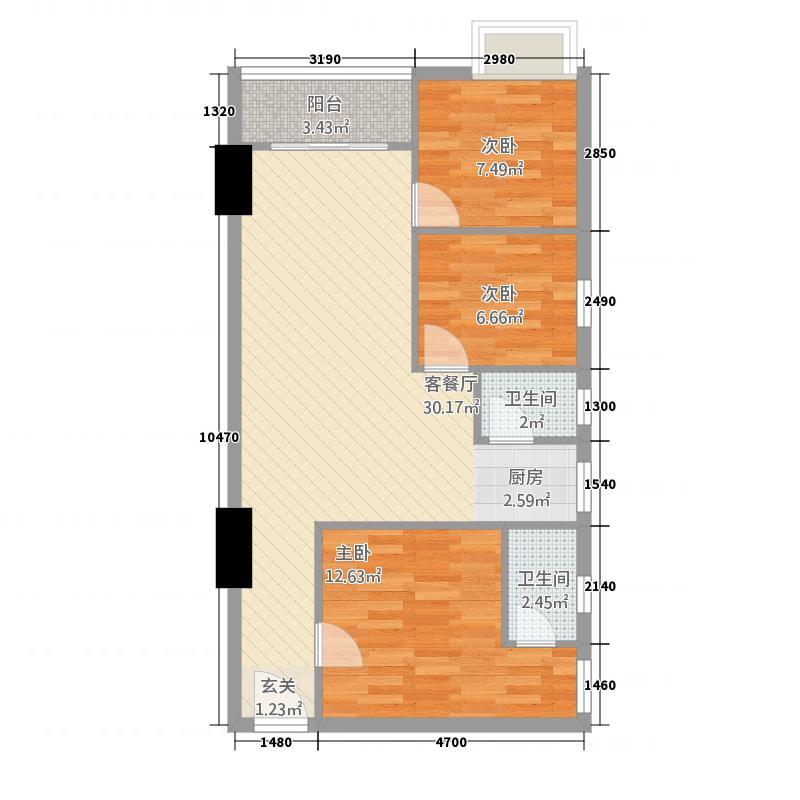 银涛糖果社区81.00㎡A-05户型3室2厅2卫1厨