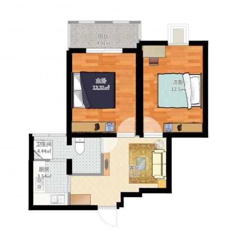 大宅风范城2室1厅1卫1厨69.00㎡户型图