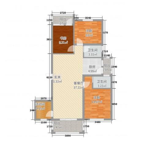 湿地风情3室1厅2卫0厨90.83㎡户型图