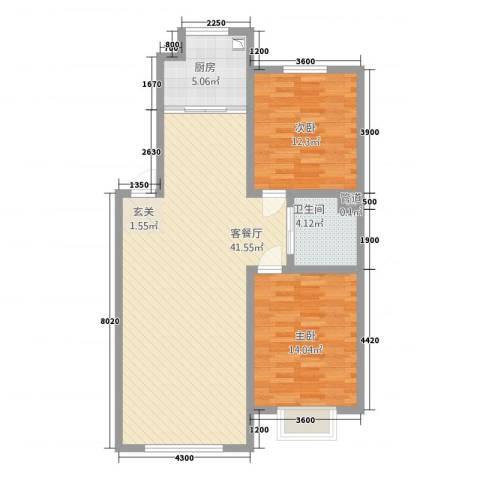 东珠美地2室1厅1卫1厨109.00㎡户型图