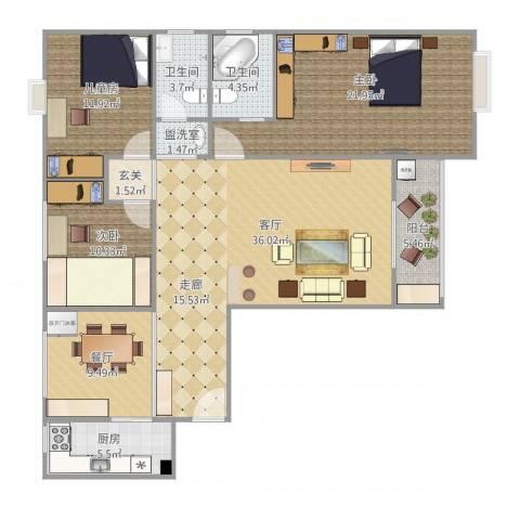 康泰小区3室3厅2卫1厨150.00㎡户型图