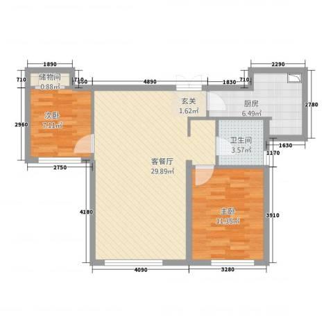 西荣阁2室1厅1卫1厨85.00㎡户型图