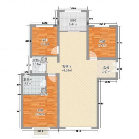 西荣阁3室1厅2卫1厨83.43㎡户型图