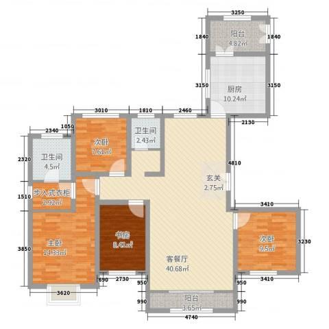 西荣阁4室1厅2卫1厨155.00㎡户型图