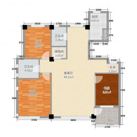雍华阁3室1厅2卫1厨138.00㎡户型图