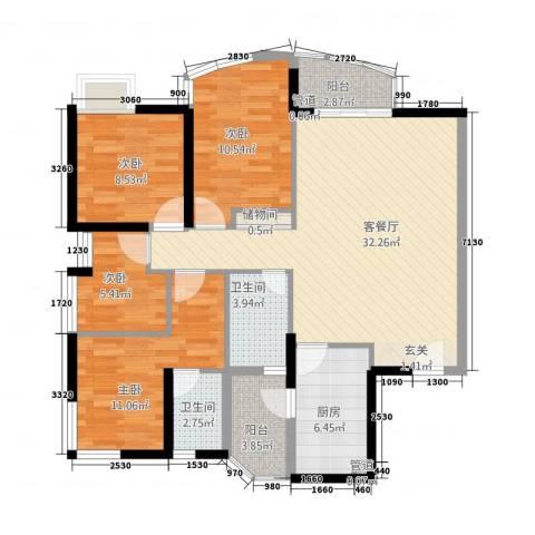 城市绿洲花园4室1厅2卫1厨126.00㎡户型图